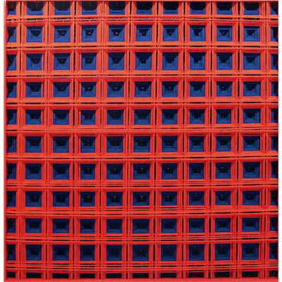 <b>BIFORCAZIONE BLU/ROSSO</b> 2015<br> 								Fili di calza tirati su teca in legno<br> 								Stockings thread on wood case<br> 								165x165 cm