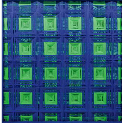 <b>BIFORCAZIONE BLU/VERDE</b> 2015<br> 								Fili di calza tirati su teca in legno<br> 								Stockings thread on wood case<br> 								125x125 cm