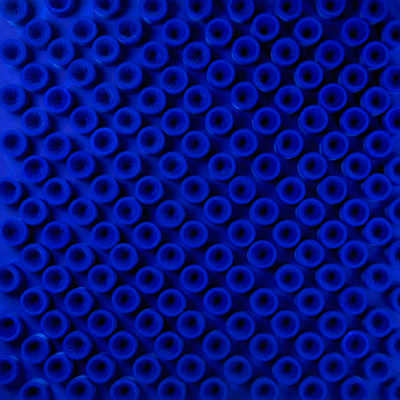 <b>Actual Infinity - Blue</b>, 2004<br>Nylon fabric on canvas<br>125 x 125 cm - 49.2 x 49.2 in.