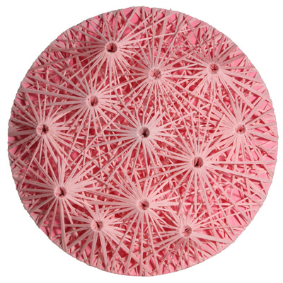 <b>Linear Fractal - Pink</b>, 2010<br>Nylon fabric on wood<br>100 x 100 cm - 39.4 x 39.4 in.