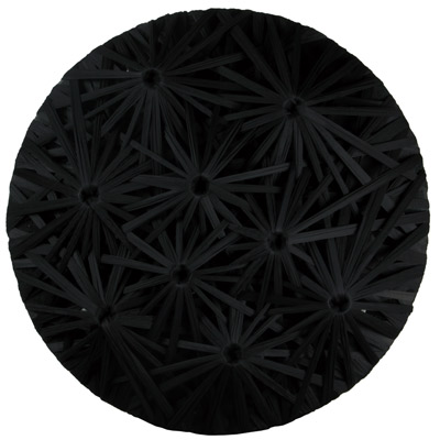 <b>Linear Fractal - Black</b>, 2010<br>Nylon fabric on wood<br>100 x 100 cm - 39.4 x 39.4 in.