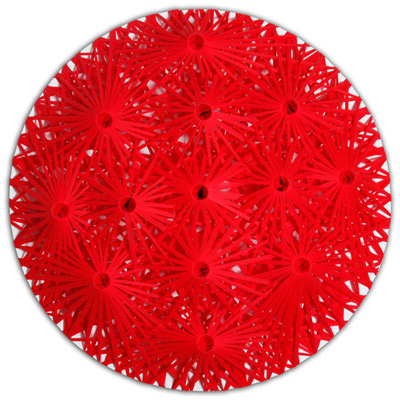 <b>Linear Fractal - Red</b>, 2001<br>Nylon fabric on wood<br>180 x 180 cm - 70.9 x 70.9 in.