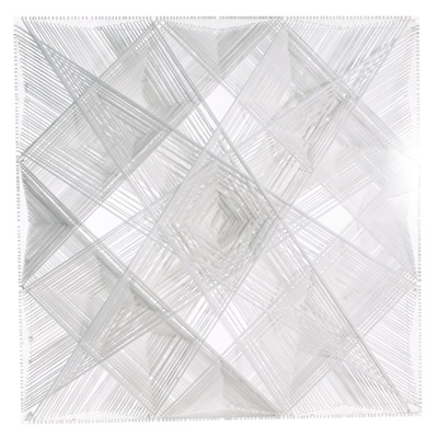 <b>White Catastrophic Bifurcation</b>, 2010<br>Nylon fabric on plexiglass<br>90 x 90 cm - 35.4 x 35.4 in.