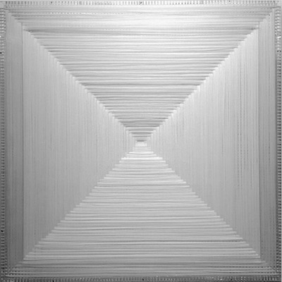 <b>White Perfect Bifurcation</b>, 2010<br>Nylon fabric on plexiglass<br>90 x 90 cm - 35.4 x 35.4 in.