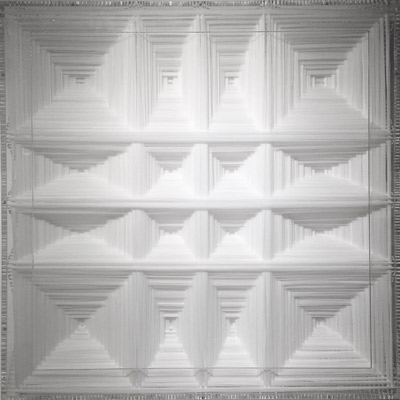 <b>White Stable Bifurcation</b>, 2010<br>Nylon fabric on plexiglass<br>90 x 90 cm - 35.4 x 35.4 in.