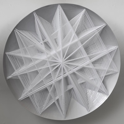 <b>Star-like Structural Bifurcation</b>, 1990<br>Nylon fabric on plexiglass<br>180 x 180 cm - 70.9 x 70.9 in.