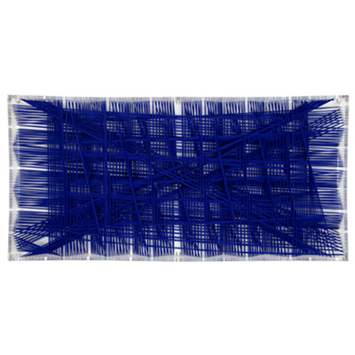 <b>Ultramarine Stable Bifurcation</b>, 2001<br>Nylon fabric on plexiglass<br>100 x 200 cm - 39.4 x 78.7 in.