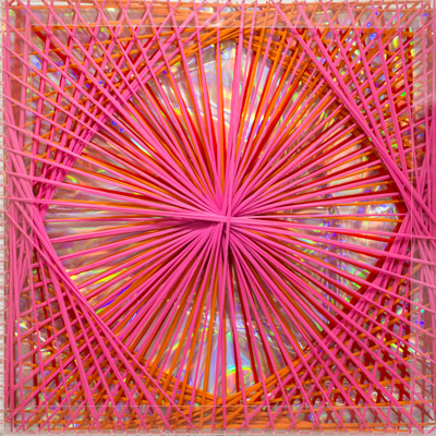 <b>Rainbow Catastrophic Bifurcation - Pink</b>, 1998<br>Nylon fabric on plexiglass<br>90 x 90 cm - 35.4 x 35.4 in.