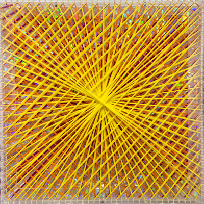 <b>Rainbow Catastrophic Bifurcation - Yellow</b>, 1998<br>Nylon fabric on plexiglass<br>90 x 90 cm - 35.4 x 35.4 in.