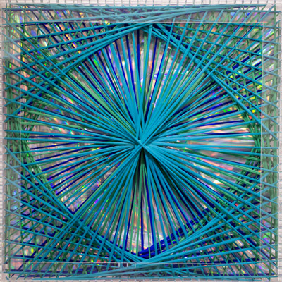 <b>Rainbow Catastrophic Bifurcation - Turquoise</b>, 1998<br>Nylon fabric on plexiglass<br>90 x 90 cm - 35.4 x 35.4 in.