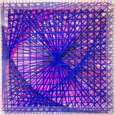 <b>Rainbow Catastrophic Bifurcation - Blue</b>, 1998<br>Nylon fabric on plexiglass<br>90 x 90 cm - 35.4 x 35.4 in.