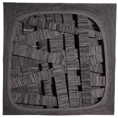 <b>Flamed Abstract Diagram</b>, 1980<br>Nylon fabric on wood<br>100 x 100 cm - 39.4 x 39.4 in.
